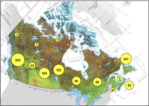 map of Indigenous communities in Canada with boil water advisories