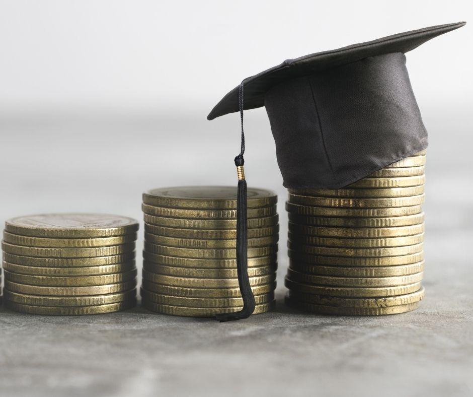 graduation cap and dollar sign