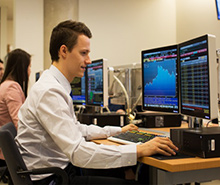 Student at Bloomberg terminal