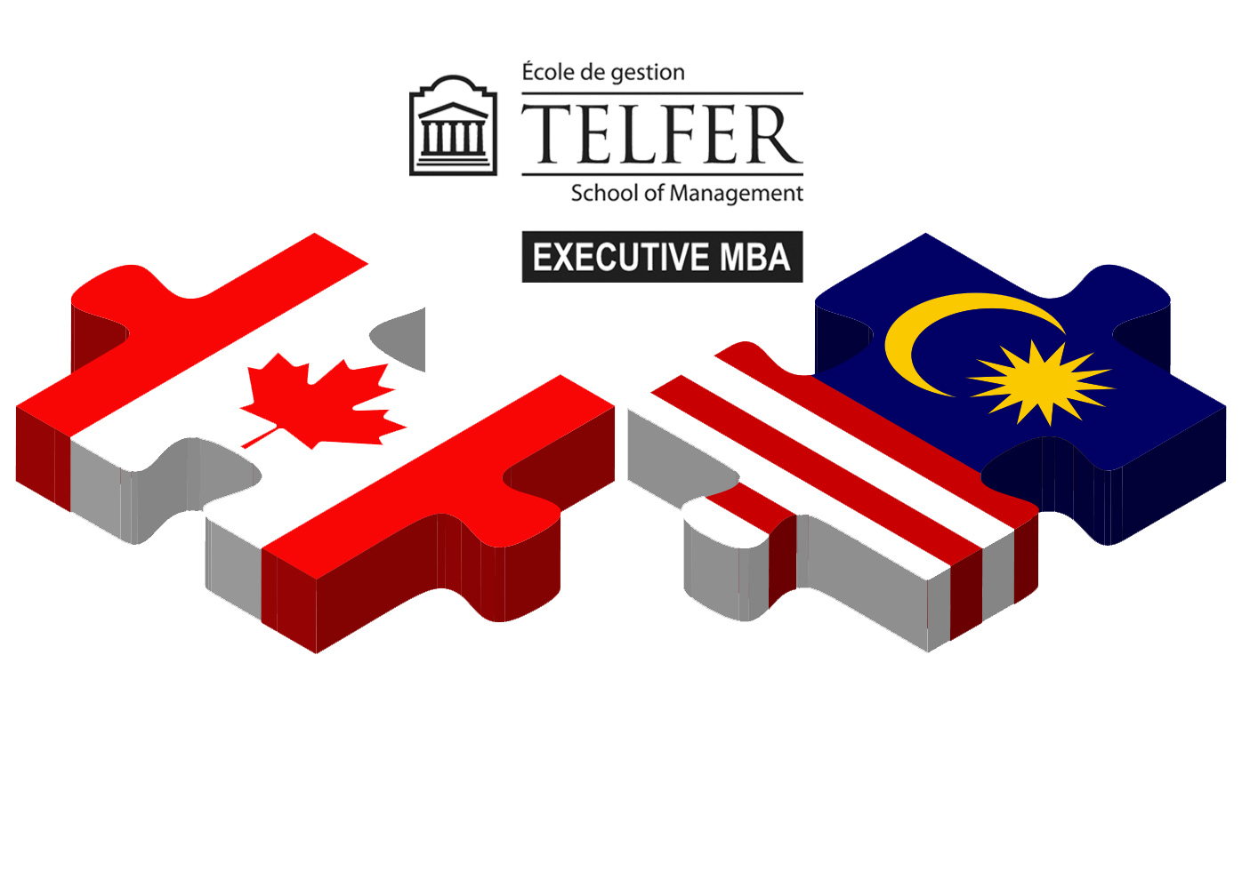 Malaysia and Canada Flags puzzled together