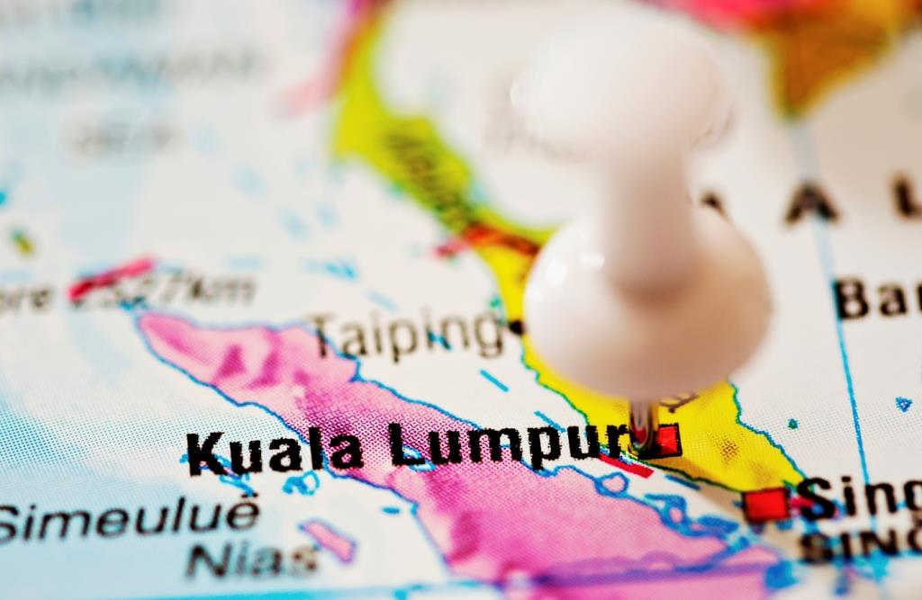 Map of South East Asia with a thumb pin on Kuala Lumpur location