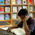 Student studying in the Management Library