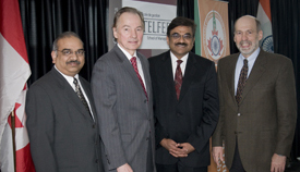 Nishith Goel, Chair - Indo-Canada Ottawa Business Chamber & CEO Cistel Technology Inc, Marvin Hough, Executive in Residence, Telfer School of Management, Shashishekhar M. Gavai, High Commissioner of India to Canada, Micheál J. Kelly, Dean, Telfer School of Management.
