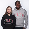 Students wearing Telfer hoodies