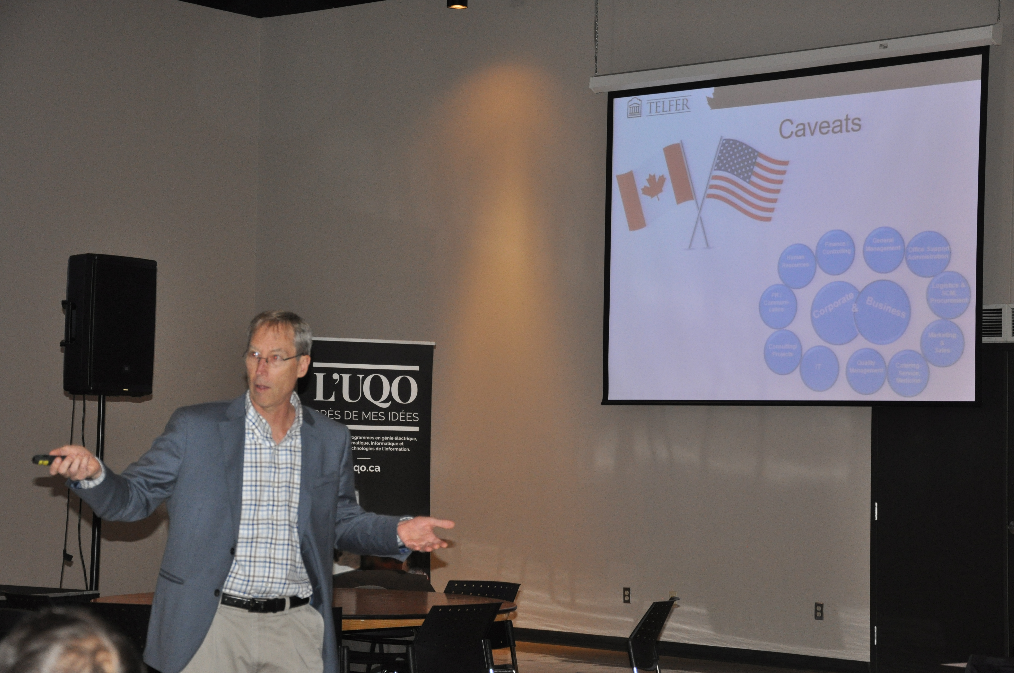 Visiting Professor James Combs gives a presentation