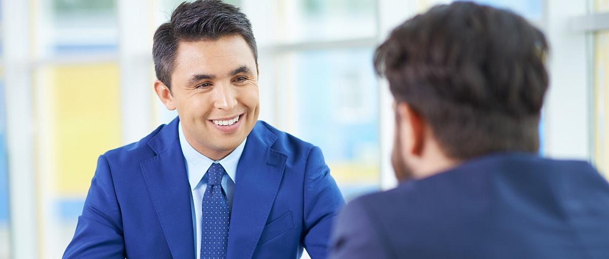 man interviewing