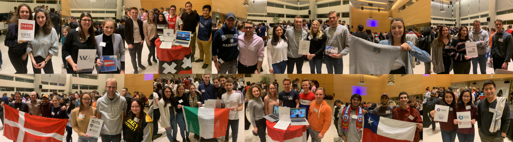collage of many students attending the international exchange fair