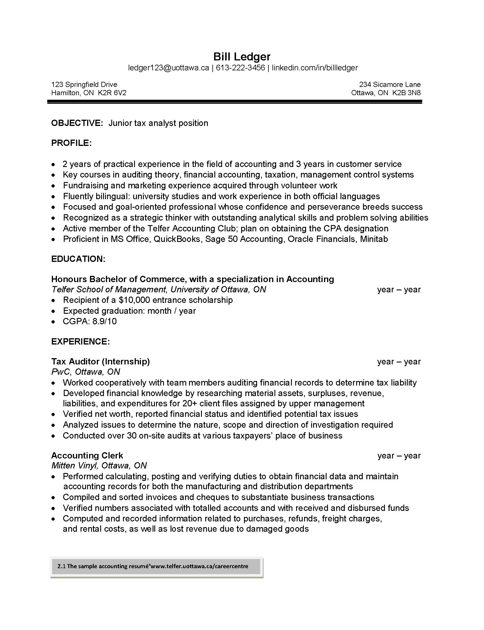 Resumé - Telfer School of Management