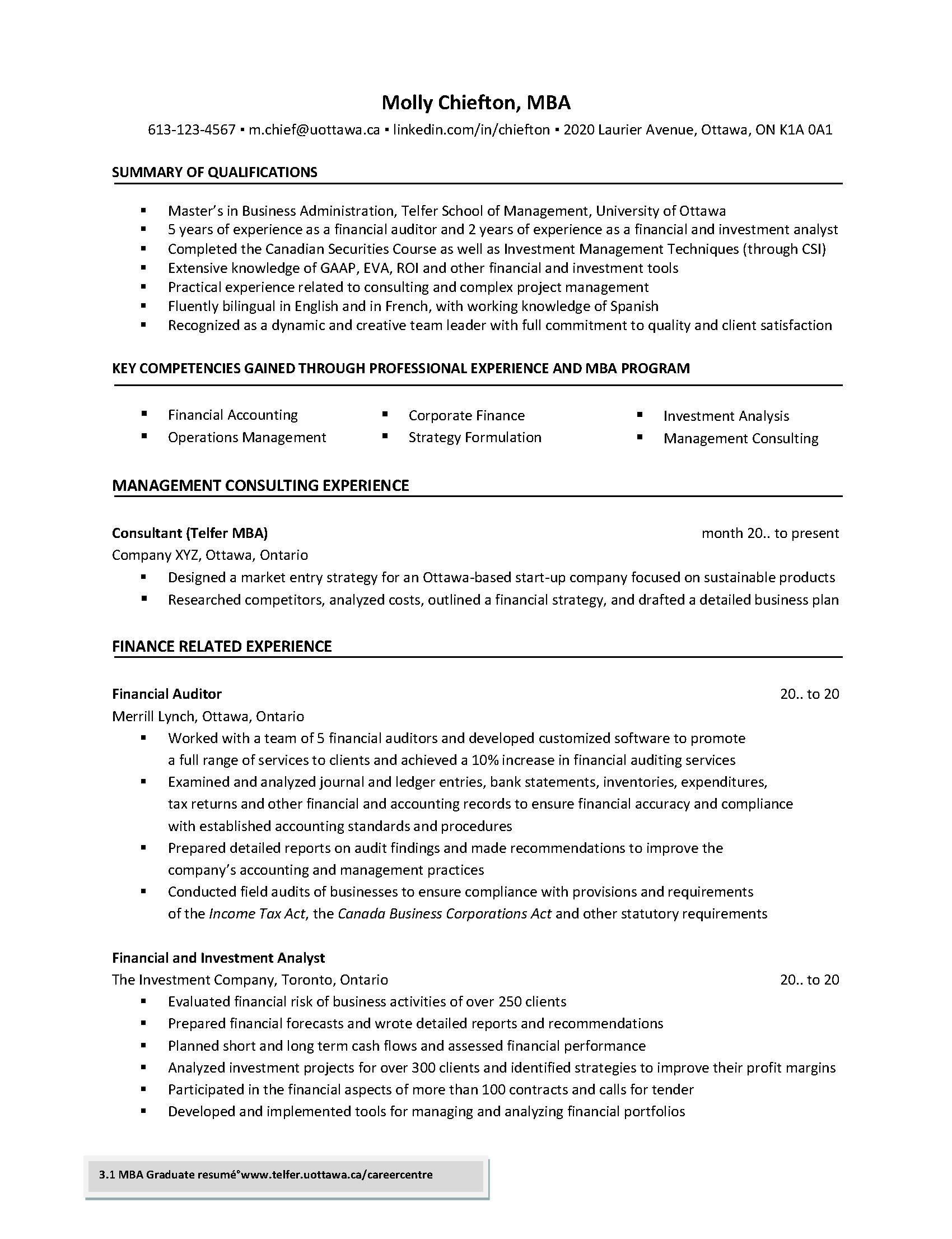 Effective Resume Examples | Resume Telfer School Of Management