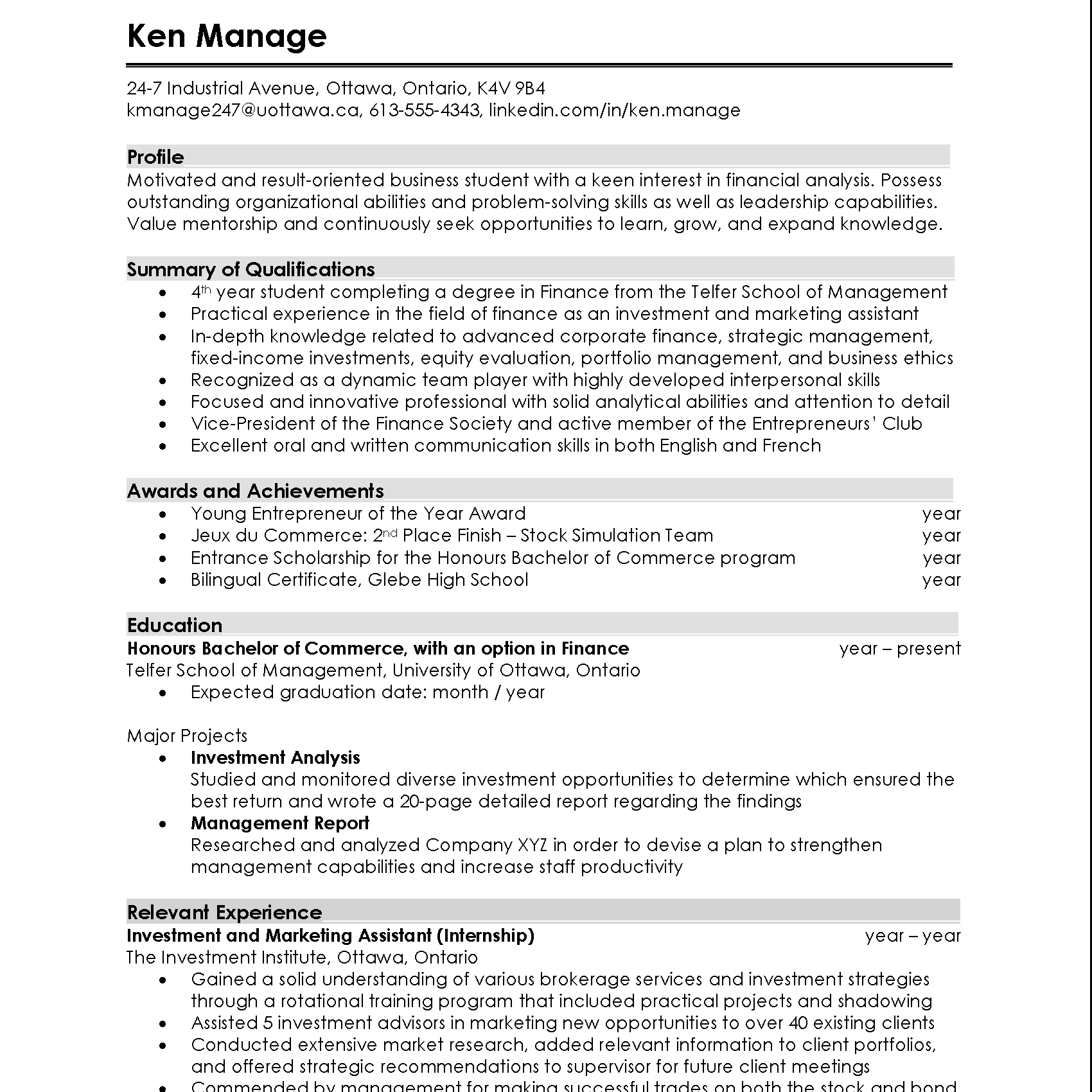 Combination Resumé Example