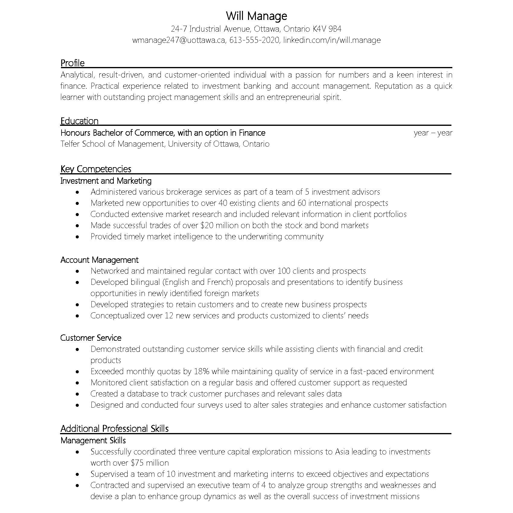 Functional Resumé Example