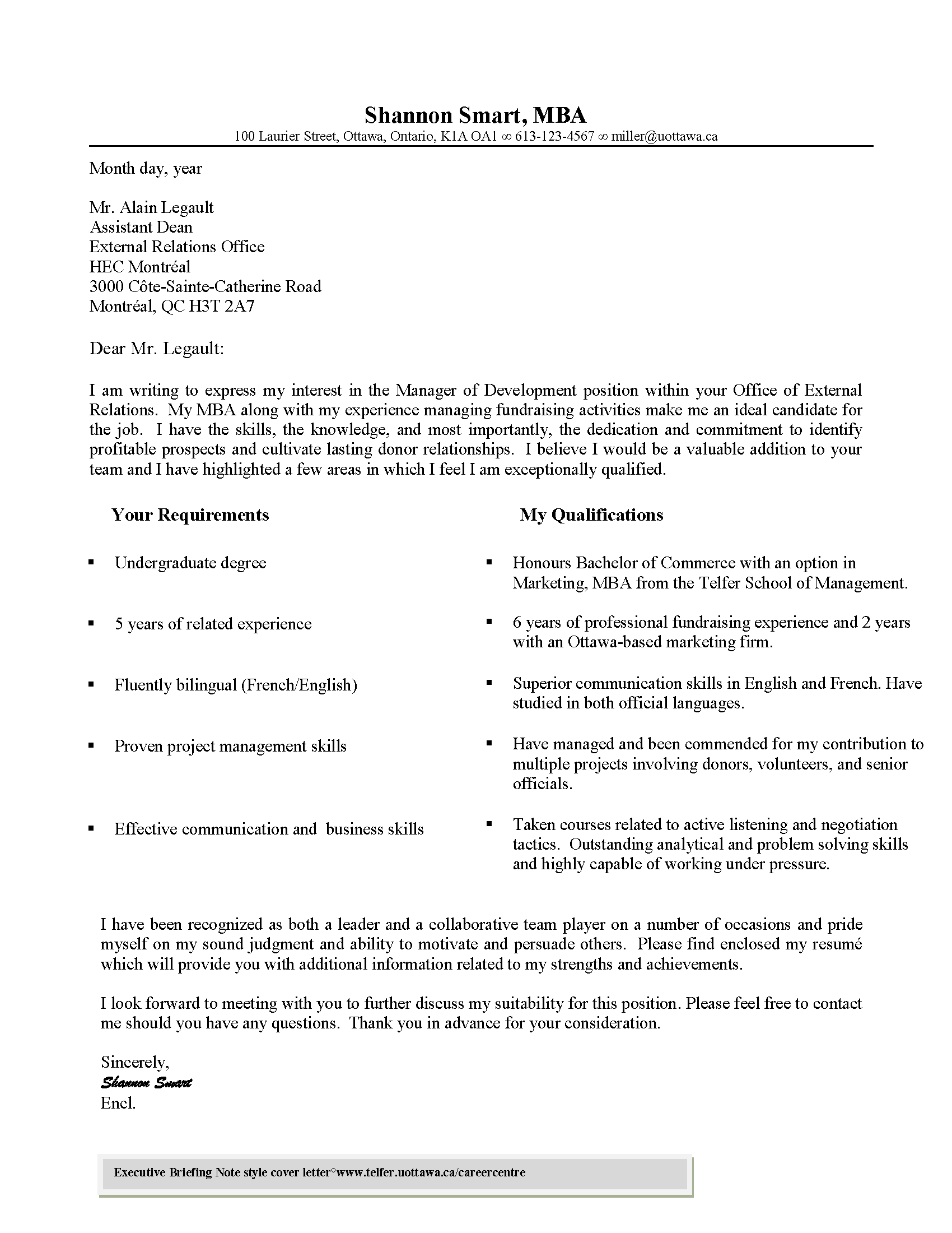 Cover Letter - Telfer School of Management