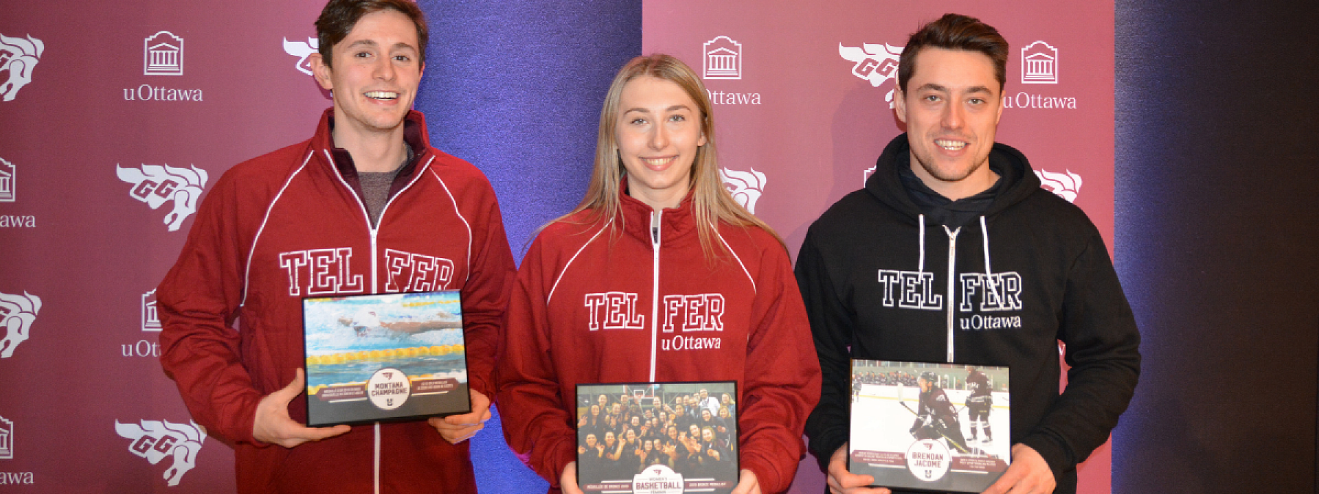 Three Telfer Gee-Gees Laughing while holding their awards