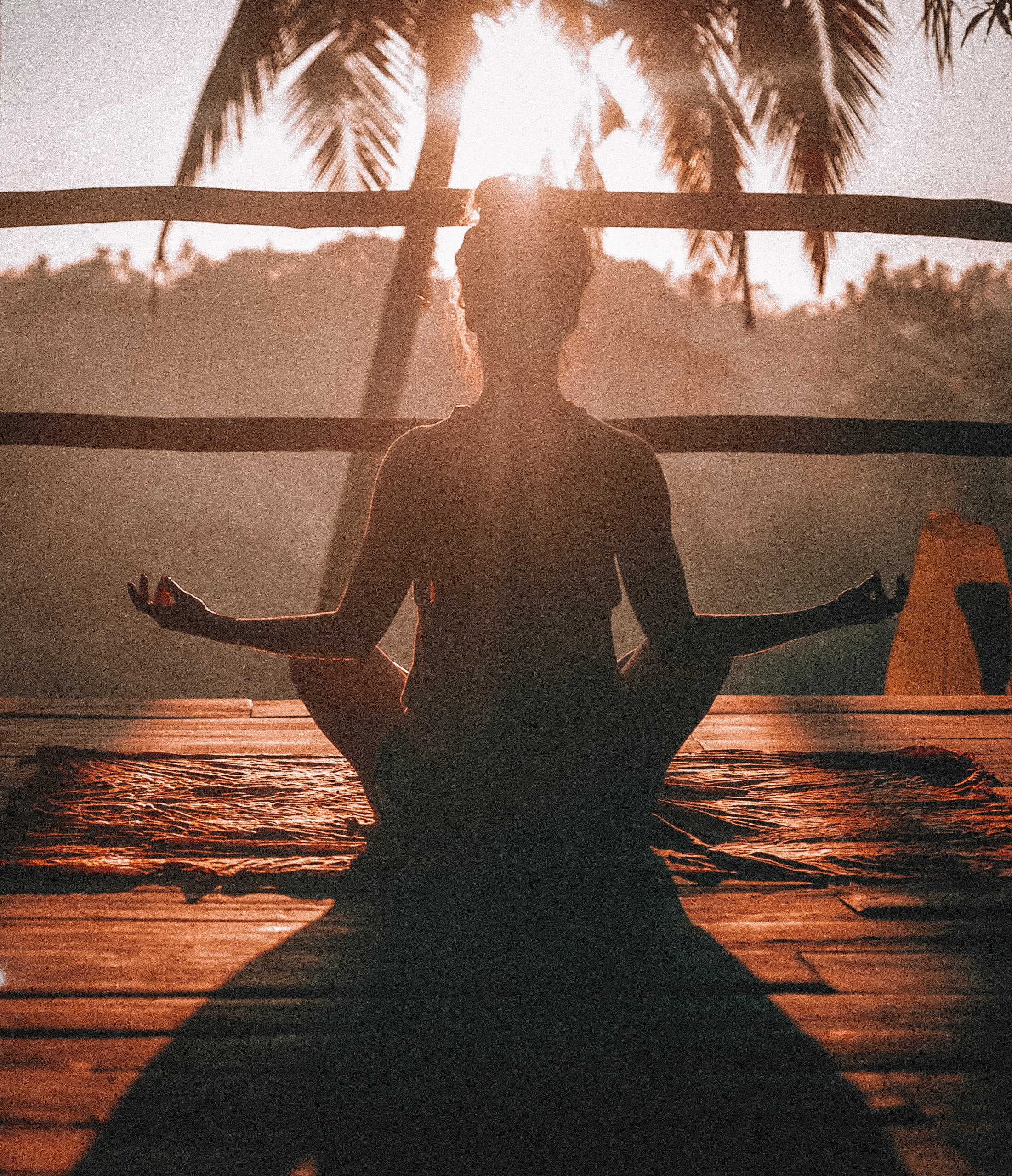 Woman meditating with palm tree and sun in the background