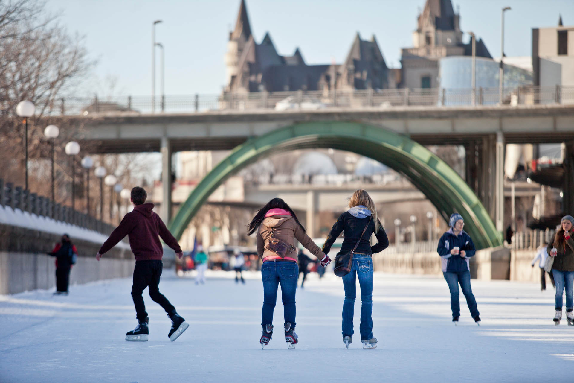 Friends skating on the Rideau Canal