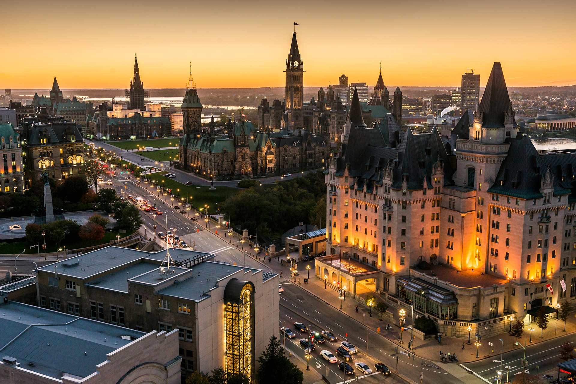Overhear view of the Parliament Hill and Wellington Street in Ottawa