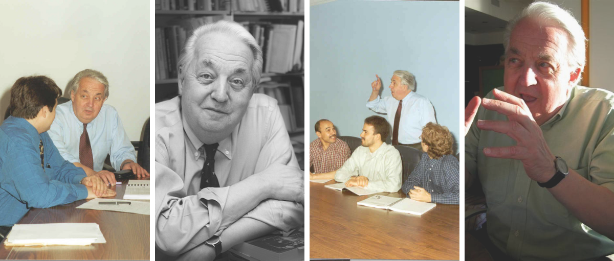 4 photos of Professor Gilles Paquet throughout his carreer at the Telfer School of Management where he was the dean from 1981 to 1988.