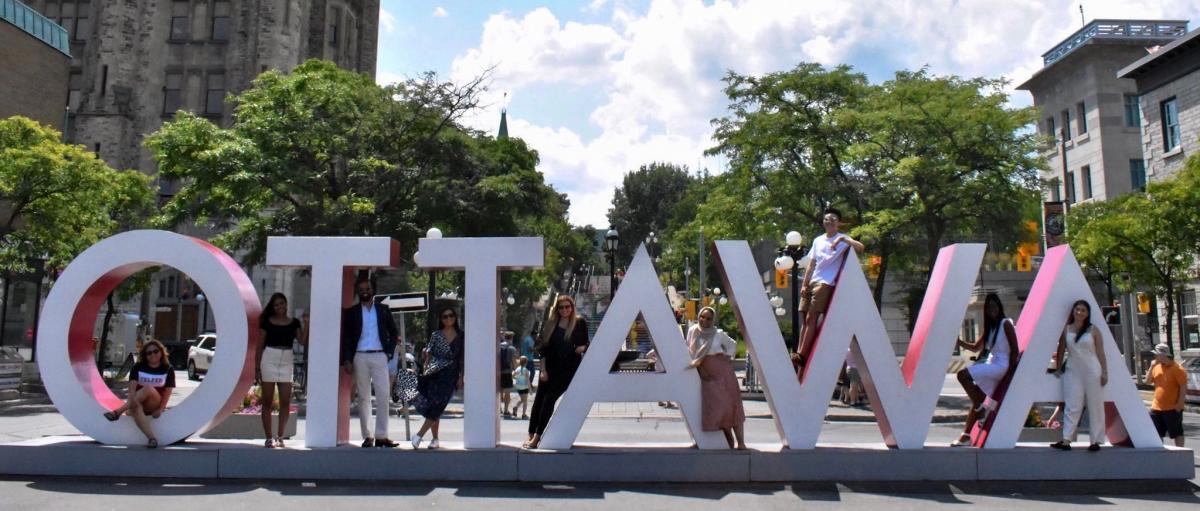 telfer students at Ottawa big letters