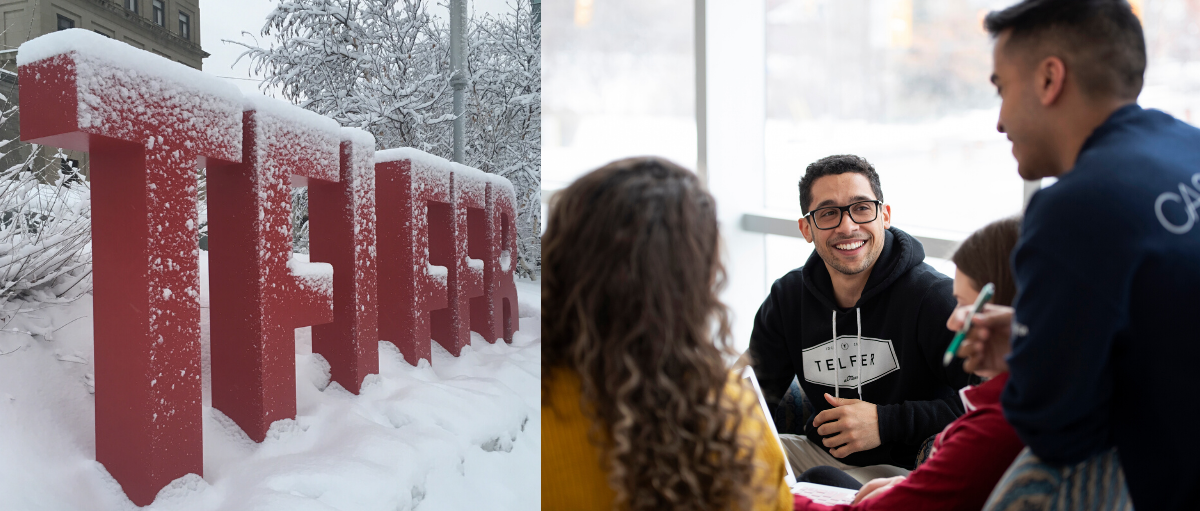 students smiling in desmarais building, giant TELFER letter covered in snow