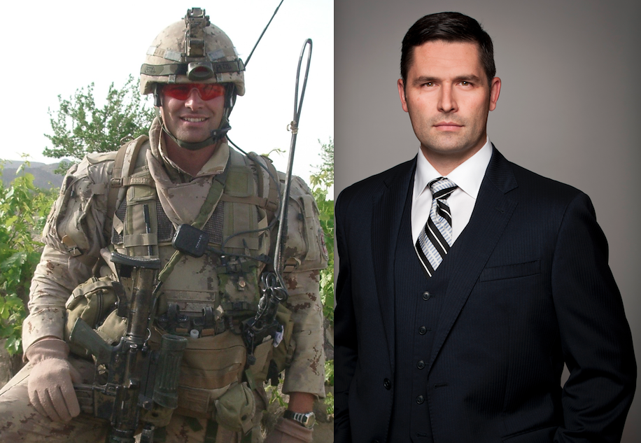 Stephane Briand, EMBA 2016 in military combat uniform beside his business professional photo (in suit)