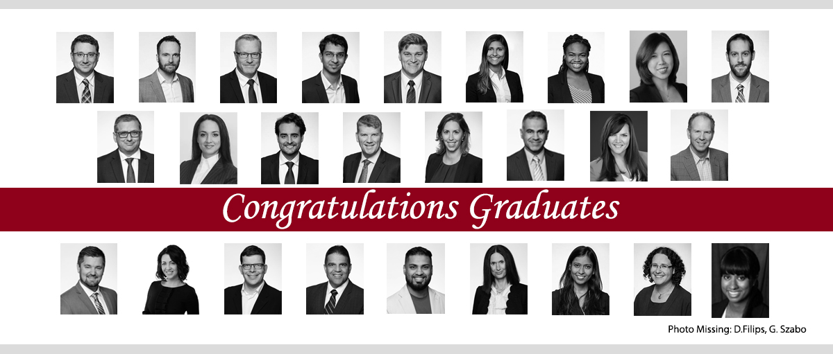 Composite of Telfer Executive MBA's Class of 2020 graduates