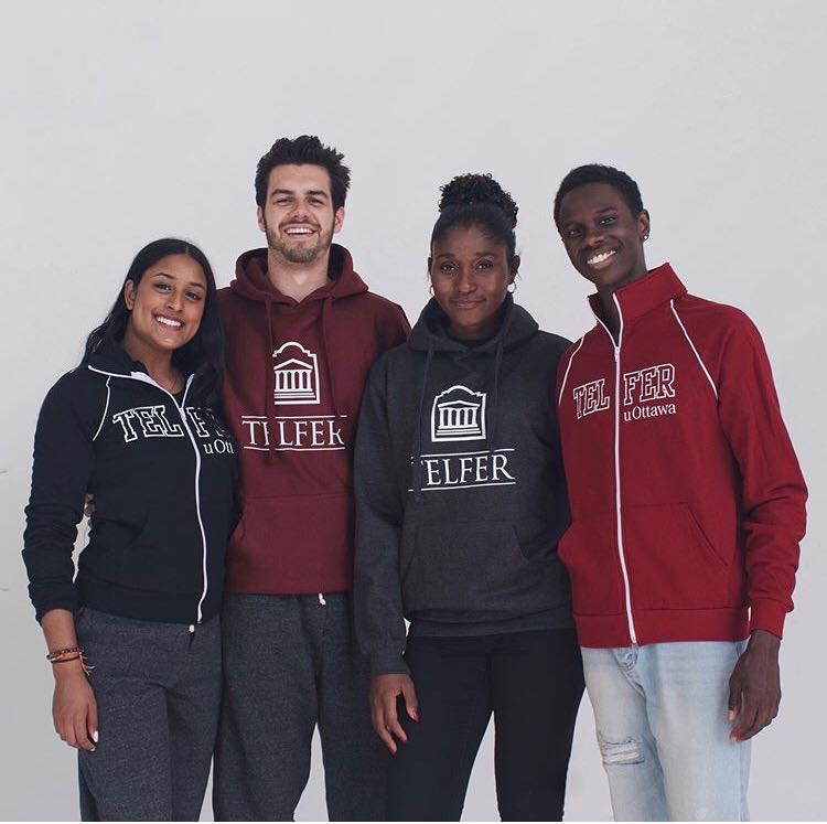 Telfer students modelling Telfer apparel