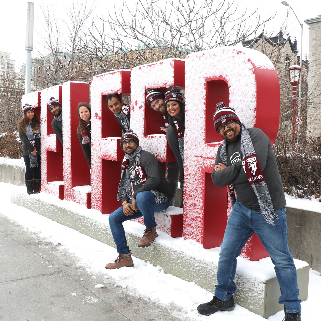 mba games team 2020 in front of telfer letters