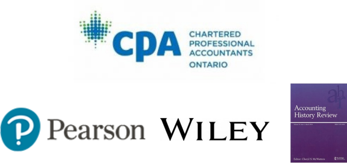 List of sponsors: CPA Ontario, Pearson, Wiley, and Accounting History Review